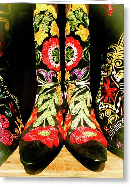 Fancy Boots Greeting Card by Angela Wright