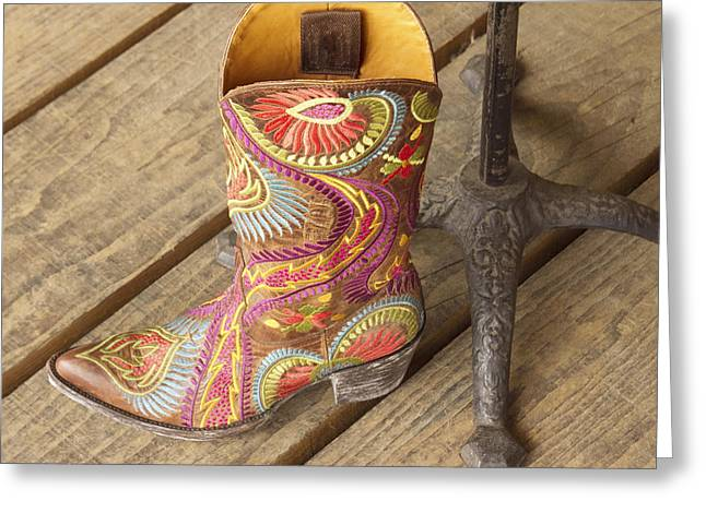 Western Culture Greeting Cards - Fancy cowboy boot Greeting Card by Elvira Butler