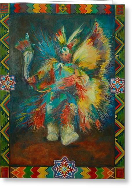 Fancy-dancer Paintings Greeting Cards - Fancy Dancer Greeting Card by Anika Ferguson
