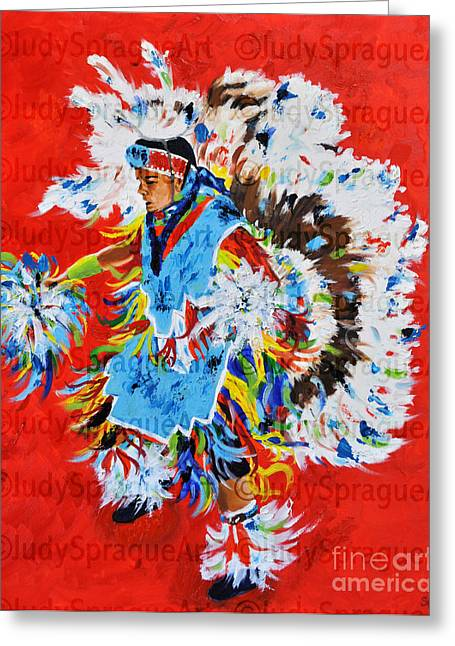 Fancy-dancer Paintings Greeting Cards - Fancy Dancer Greeting Card by Judy Sprague