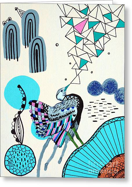 Surreal Illustration Greeting Cards - Fancy Face Greeting Card by Susan Claire