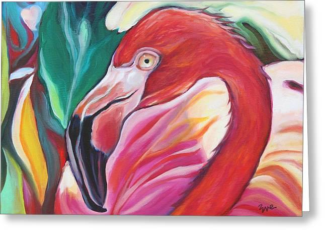 Eve Wheeler Greeting Cards - Fancy Flamingo Greeting Card by Eve  Wheeler