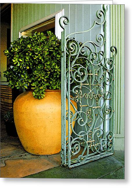 Entryway Greeting Cards - Fancy Gate And Plain Pot Greeting Card by Ben and Raisa Gertsberg