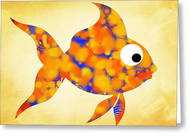 Fish Bowl Greeting Cards - Fancy Goldfish Greeting Card by Christina Rollo