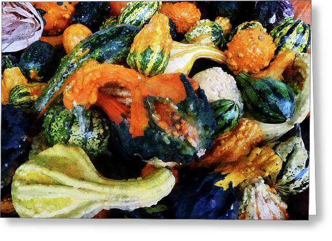 Cuisine Greeting Cards - Fancy Gourds Greeting Card by Susan Savad
