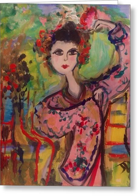Fancy-dancer Paintings Greeting Cards - Fancy is dancing  Greeting Card by Judith Desrosiers