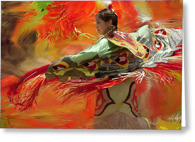 Powwow Greeting Cards - Fancy Shawl Dancer Greeting Card by Donna Eaton