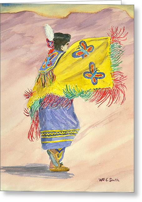Fancy-dancer Paintings Greeting Cards - Fancy Shawl Dancer Greeting Card by William Smith