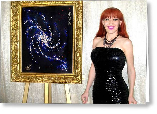 Awesome Jewelry Greeting Cards - Space galaxy painting with swarovski crystals. Sofia Metal Queen / Sofia Goldberg Greeting Card by Sofia Metal Queen