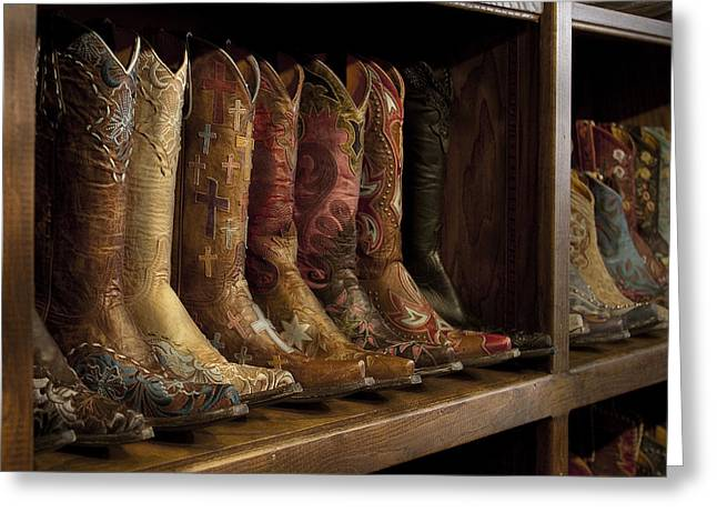 Cowgirl Boots Greeting Cards - Fancy Western Wear Boots Greeting Card by David and Carol Kelly