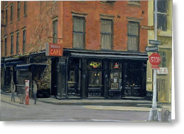 Street Scenes Photographs Greeting Cards - Fanellis Bar, New York, 1996 Oil On Canvas Greeting Card by Julian Barrow