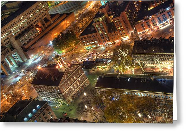 Boston Garden Greeting Cards - Faneuil Hall from Above Greeting Card by Joann Vitali