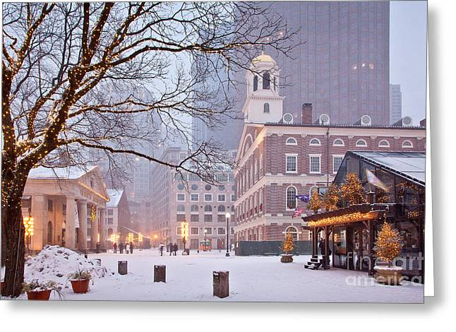 Tourist Greeting Cards - Faneuil Hall in Snow Greeting Card by Susan Cole Kelly