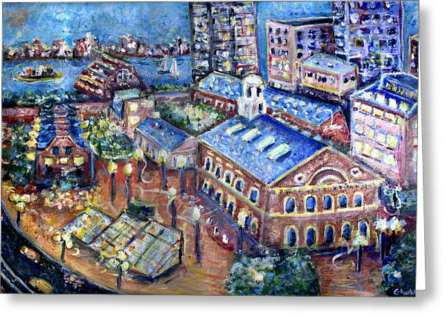 Red Sox Paintings Greeting Cards - Faneuil Hall Greeting Card by Jason Gluskin