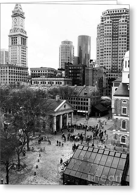 Old School Galleries Greeting Cards - Faneuil Hall Marketplace Greeting Card by John Rizzuto