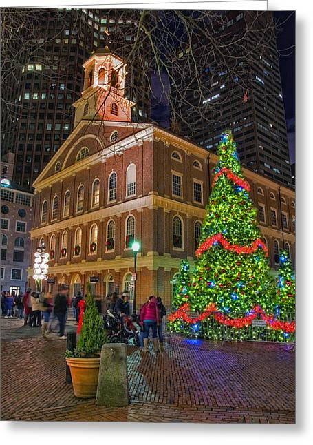 Tea Party Greeting Cards - Faneuil Hall Night Greeting Card by Joann Vitali