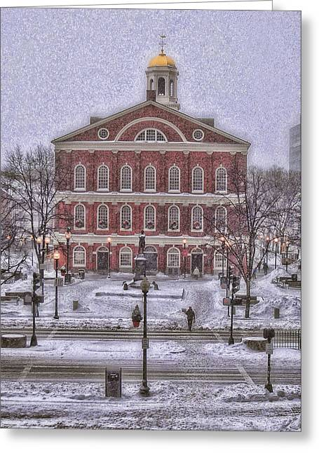 Faneuil Hall Greeting Cards - Faneuil Hall Snow Holiday Card Greeting Card by Joann Vitali