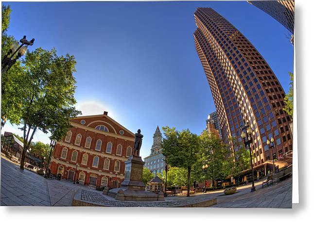 Faneuil Hall Greeting Cards - Faneuil Hall Square Greeting Card by Joann Vitali