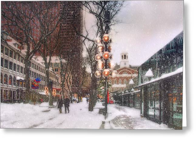 Faneuil Hall Greeting Cards - Faneuil Hall Winter Scene Greeting Card by Joann Vitali