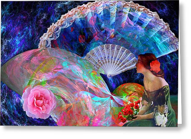 Preraphaelite Greeting Cards - Fans and Roses Greeting Card by Lisa Yount