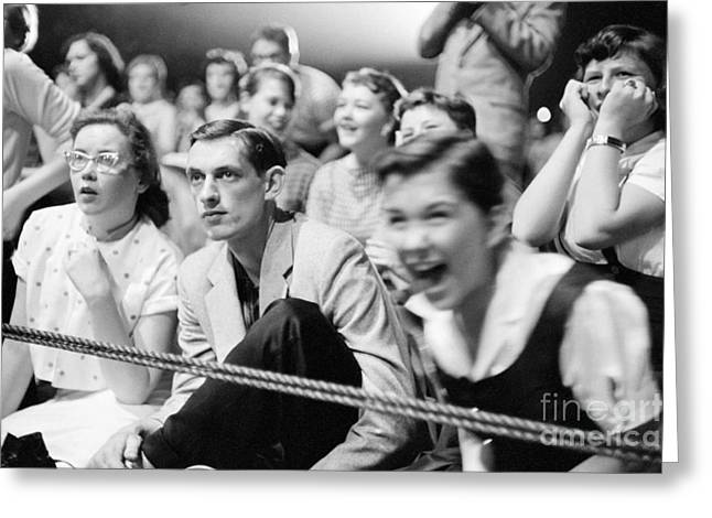 Many People Greeting Cards - Fans Reacting to Elvis Presley Performing 1956 Greeting Card by The Phillip Harrington Collection
