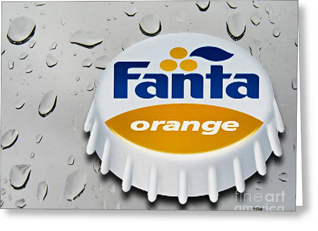 Carbonated Greeting Cards - Fanta Greeting Card by Cheryl Young