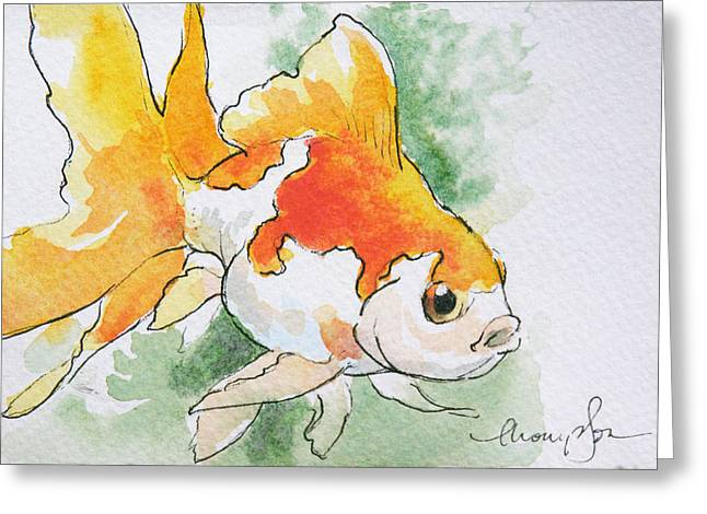 Fantail Goldfish 2 Greeting Card by Tracie Thompson