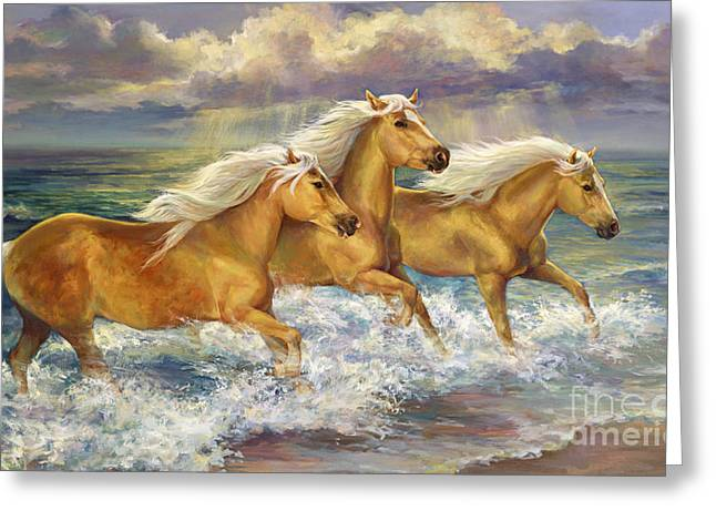 Fantasea Ponies Greeting Card by Laurie Hein