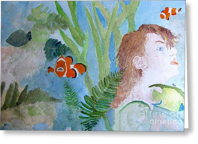 Angel Mermaids Ocean Greeting Cards - Fantasia 1 Greeting Card by Sandy McIntire