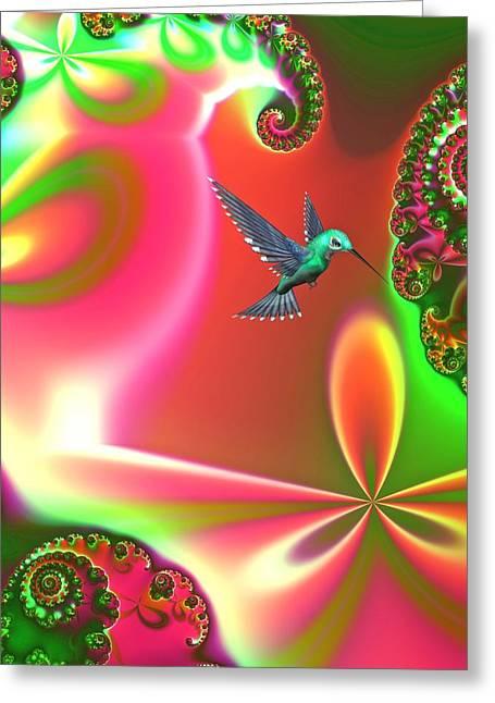 Hummingbird Wall Art Greeting Cards - Fantasia Greeting Card by Sharon Lisa Clarke