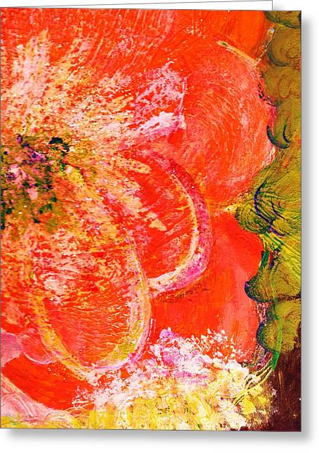 Splashy Mixed Media Greeting Cards - Fantasia with Orange  Greeting Card by Anne-Elizabeth Whiteway