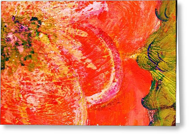 Fantasia with Orange  Greeting Card by Anne-Elizabeth Whiteway