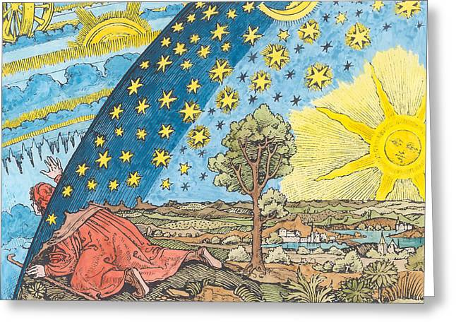 Advancing Greeting Cards - Fantastic Depiction Of The Solar System Woodcut Later Colouration Greeting Card by German School