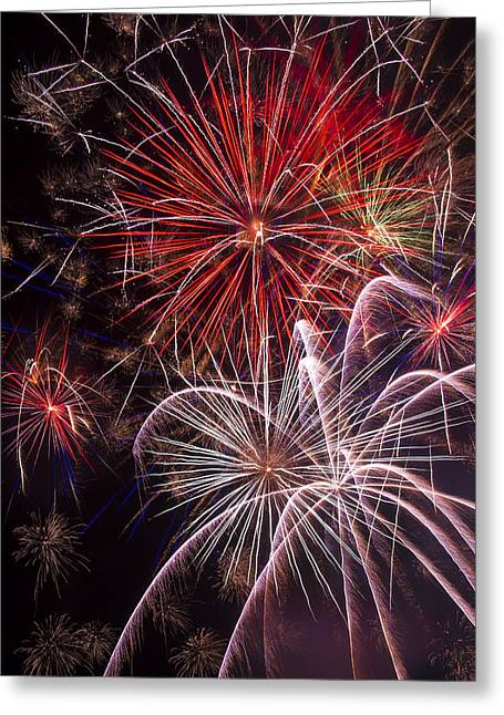 4th July Photographs Greeting Cards - Fantastic Fireworks Greeting Card by Garry Gay