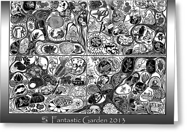 Collaborative Greeting Cards - Fantastic Garden 2013 Greeting Card by Maria Arango Diener