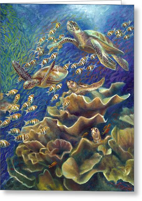 Gallery Wrap Paintings Greeting Cards - Fantastic Journey - Turtles Greeting Card by Nancy Tilles