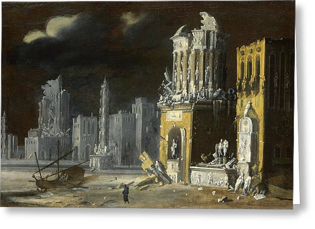 Nome Greeting Cards - Fantastic Ruins with Saint Augustine and the Child Greeting Card by Francois de Nome