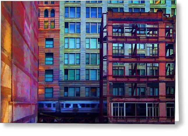 Chicago Pyrography Greeting Cards - Fantastical Chicago Loop Greeting Card by John Hansen