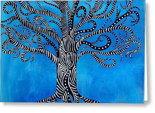 Tree Roots Paintings Greeting Cards - Fantastical Tree of Life Greeting Card by Jean Fry