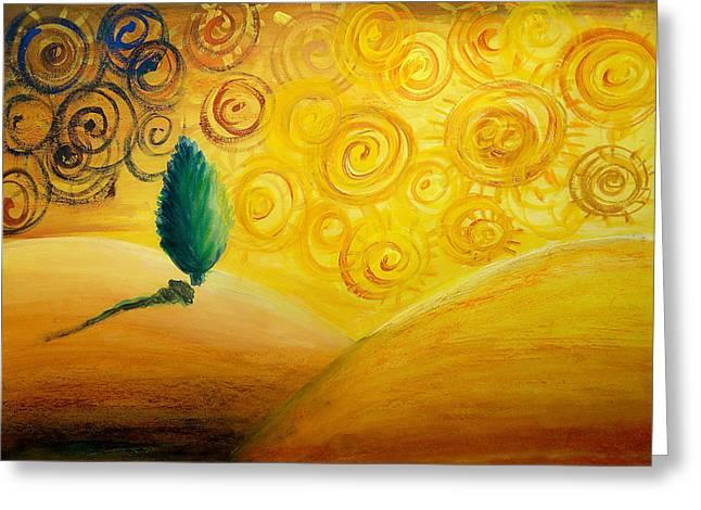 Pine Tree Drawings Greeting Cards - Fantasy Art - Lonely Tree Greeting Card by Nirdesha Munasinghe