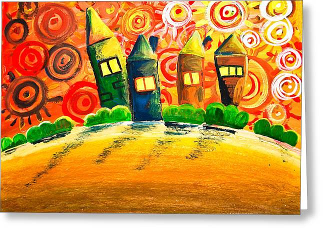 Bright Drawings Greeting Cards - Fantasy Art - The Village Festival Greeting Card by Nirdesha Munasinghe