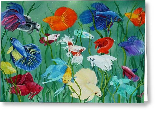 Betta Paintings Greeting Cards - Fantasy Bettas Greeting Card by Debbie LaFrance