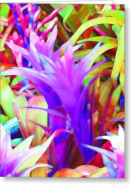 Saheed Greeting Cards - Fantasy Bromeliad Abstract Greeting Card by Margaret Saheed