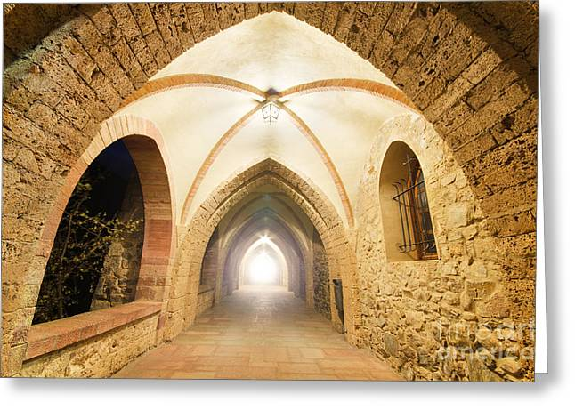 Beautiful Scenery Greeting Cards - Fantasy corridor Ancient Monastery corridor with light at the end Greeting Card by David Herraez