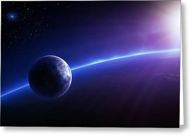 Deep Space Greeting Cards - Fantasy Earth and Moon with colourful  sunrise Greeting Card by Johan Swanepoel