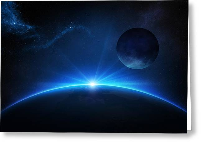 Beam Greeting Cards - Fantasy Earth and Moon with sunrise Greeting Card by Johan Swanepoel