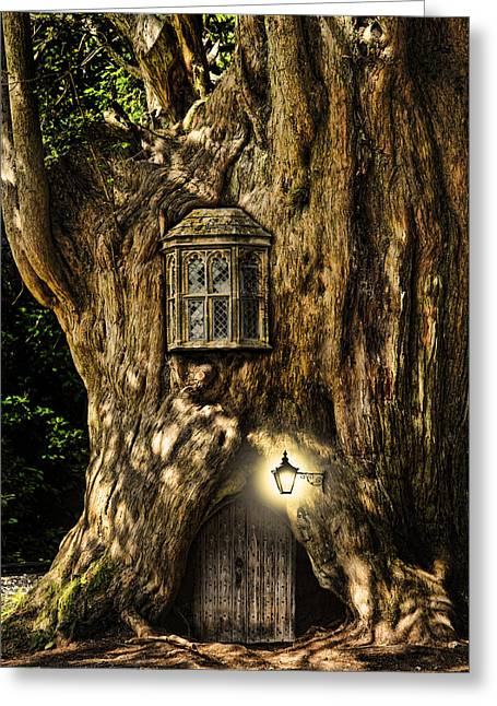 Miniature Effect Greeting Cards - Fantasy fairytale miniature house in tree in forest Greeting Card by Matthew Gibson