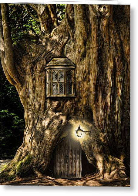 Miniature Effect Greeting Cards - Fantasy fairytale tree house digital painting Greeting Card by Matthew Gibson