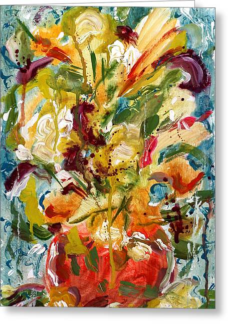 Splashy Paintings Greeting Cards - Fantasy Floral 1 Greeting Card by Carole Goldman
