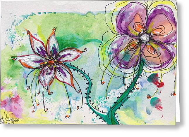Nature Study Mixed Media Greeting Cards - Fantasy Flowers Greeting Card by Donna Kerness